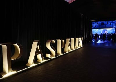 Venue entrance with light display at the Paspaley Megisti Collection launch