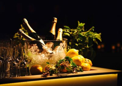 Champagne bottles on ice at the Paspaley Megisti Collection launch