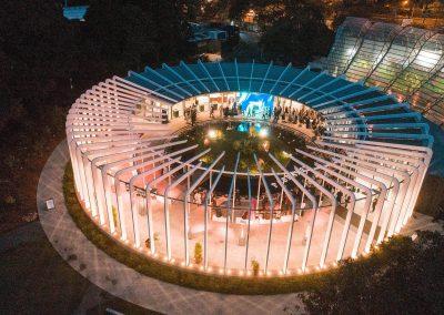 The Calyx at Royal Botanical Gardens Sydney aerial shot at night