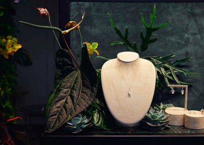 Pearl necklace and earring on display at the Paspaley Monsoon Collection Launch