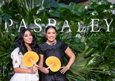 Lydia Schiavello and friend on the red carpet at the Paspaley Monsoon Collection Launch