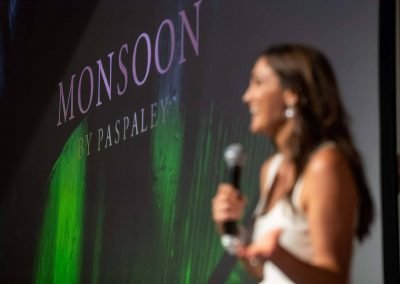 MC on stage at Paspaley Monsoon Collection Launch