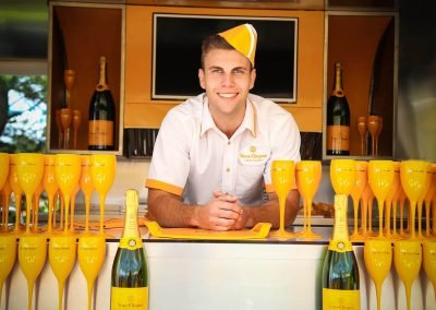 Bartender goblets champagne Paspaley Polo in the City Series Australia