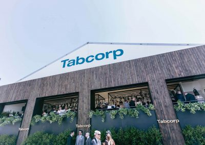 Guests talking Tabcorp Birdcage Marquee Alfresco Cafe