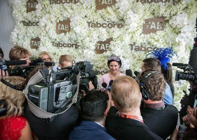 Media interviewing guest Tabcorp Birdcage Marquee Alfresco Cafe