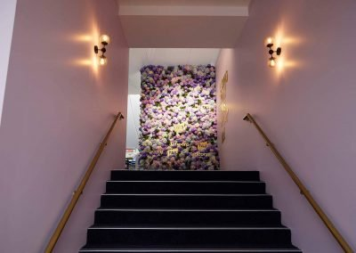 Floral wall display at the Tabcorp Birdcage Marquee