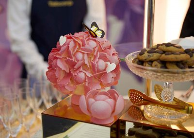 Sugar flowers with butterfly at the Tabcorp Birdcage Marquee