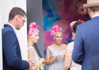 Guests talking Tabcorp Birdcage Marquee Melbourne Cup 2014