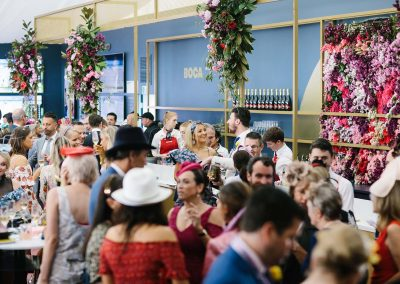 Guests talking Tabcorp Birdcage Marquee The Winning Moment