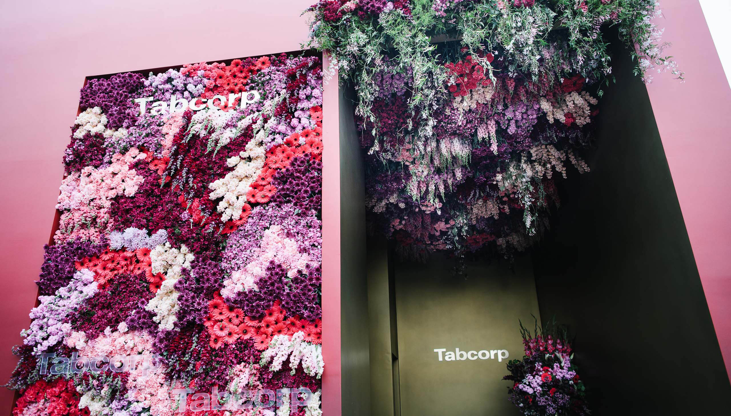 Floral display at entrance to Tabcorp marquee