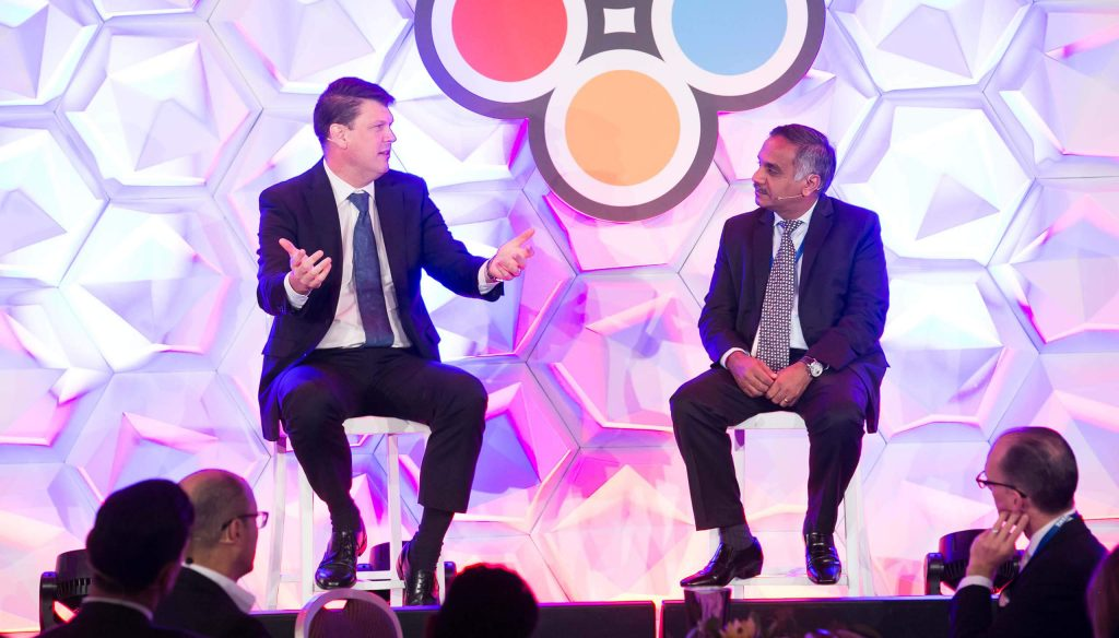 Speaker discussion at corporate event
