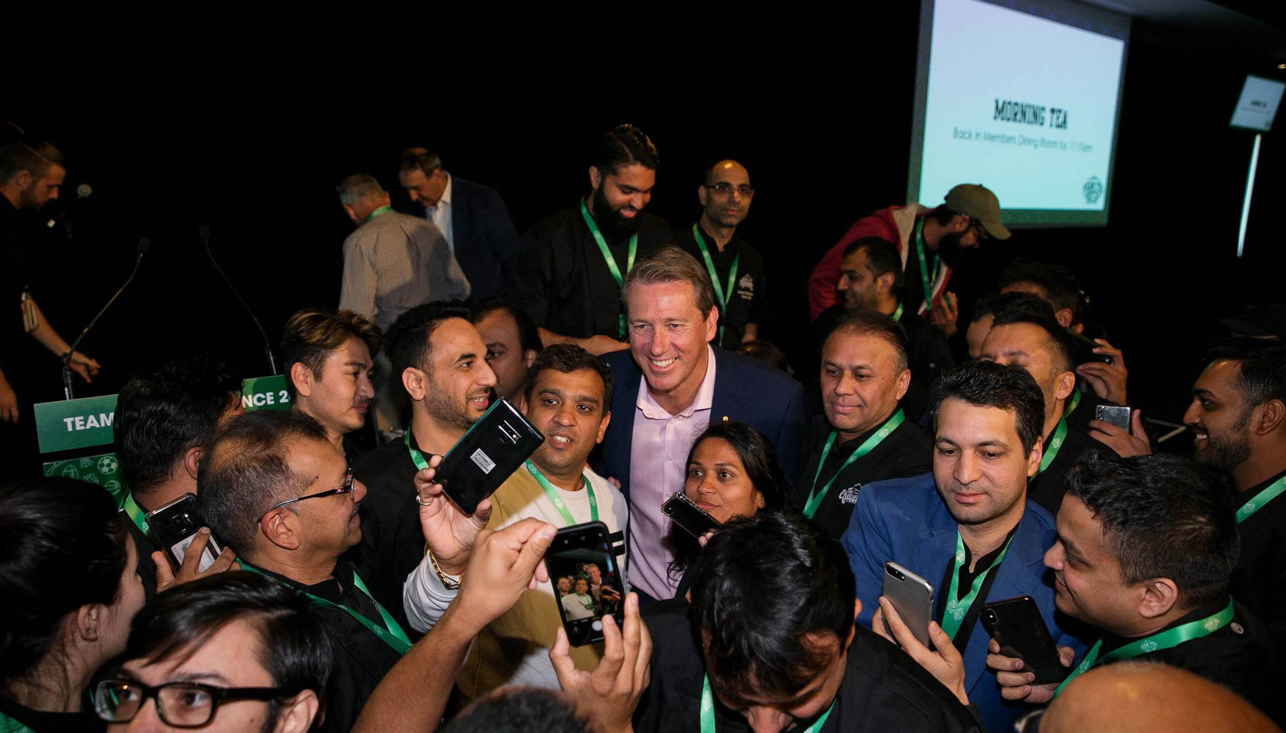 Cricketer Glenn McGrath with fans at the Cheesecake Shop Franchise Conference