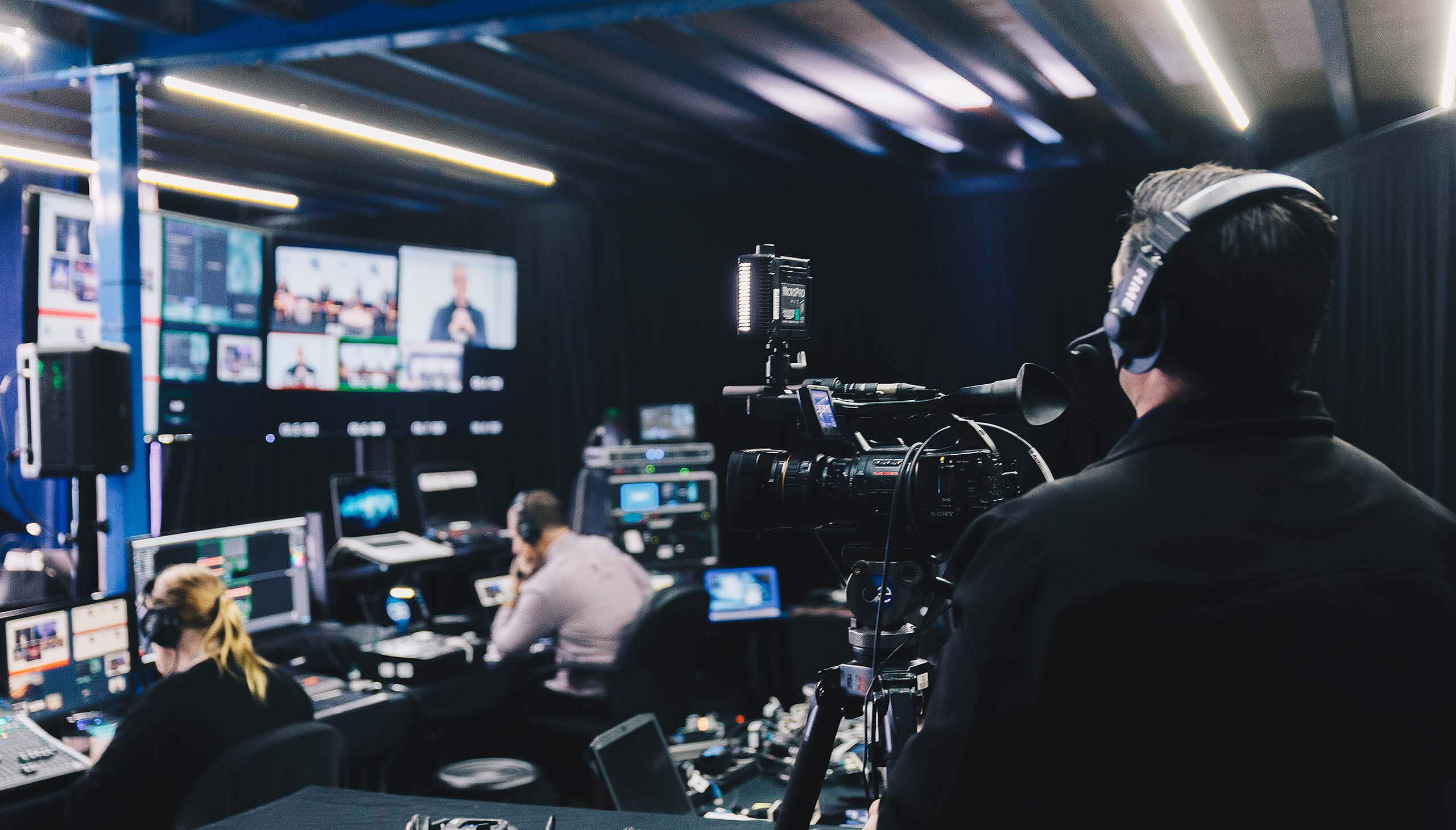 Camera operater and and production team in Virtual Event control studio