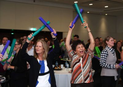 Guests bonding exercise laughing Tabcorp Our Big Moment Employee Engagement Event
