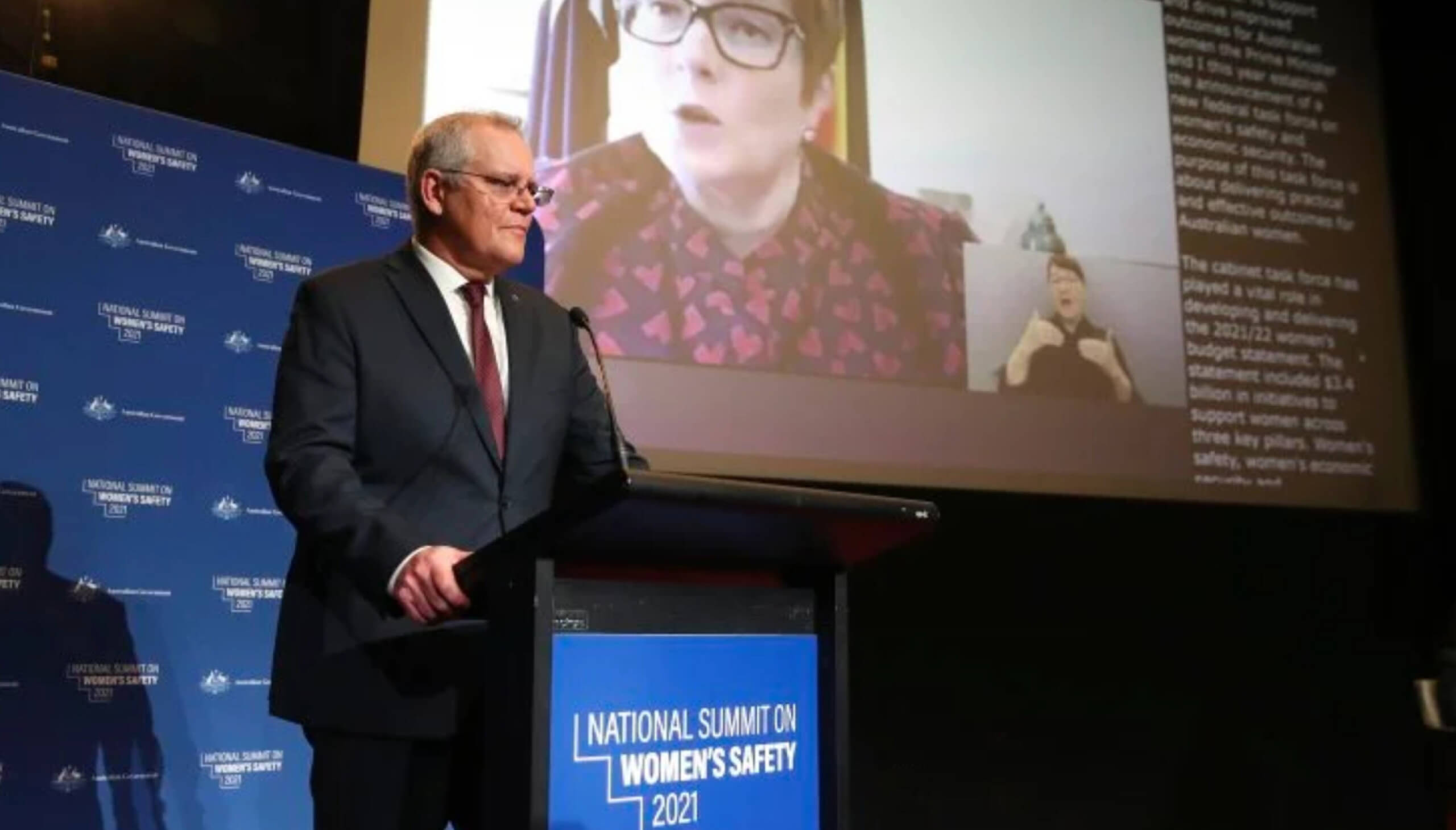 Prime Minister Scott Morrison speaking at the National Summit on Women's Safety