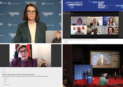 Keynote speakers split screen at the National Summit on Women's Safety