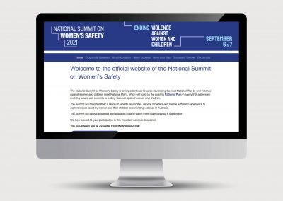 Welcome page National Summit on Women's Safety