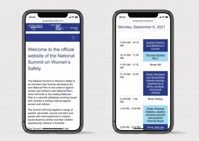 Registration mobile view of virtual summit on Women's Safety